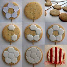 balón de futbol atletico de madrid en galletas decoradas chicuqui.com Fancy Cookies, Iced Cookies, Holiday Cookies, Cupcake Cookies, Yummy Cookies, Cut Out Cookies, Cupcakes, Sugar Cookie Frosting, Royal Icing Cookies