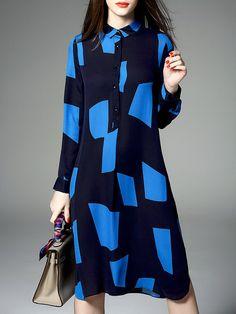 Blue Geometric Color-block Long Sleeve Midi Dress