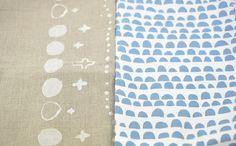 handprinted fabric swap goodies by leslie.keating, via Flickr
