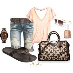 Summer outfit - Very casual & comfy! Summer Fashion Outfits, Cute Summer Outfits, Spring Summer Fashion, Cute Outfits, Summer Clothes, Style Summer, Summer Fun, Summer Rolls, Hello Summer