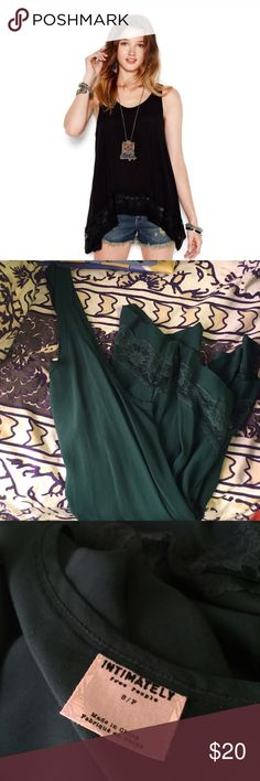 Free People Lace Trim Slip Tank Beautiful emerald green top from FP! Free People Tops