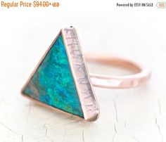 CHRISTMAS In JULY SALE Clearance - Only 4 Left! Chrysocolla Triangle Copper Ring - Hand Cut Ethically Sourced Bold Ring Set in Copper Textur by amywaltz #TrendingEtsy