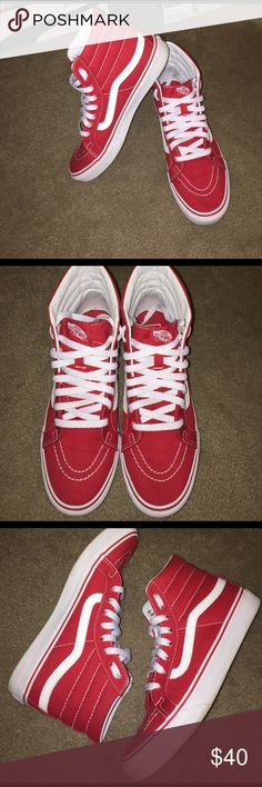e293834666 Shop Women s Vans Red White size 9 Sneakers at a discounted price at  Poshmark. Description  HI VANS