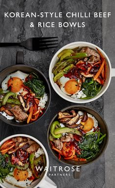 Our Korean-style chilli beef and rice bowls are great for entertaining. Build the rice, carrots, pep Meat Recipes, Asian Recipes, Cooking Recipes, Dinner Recipes, Healthy Recipes, Waitrose Food, Beef And Rice, Fast Food, Fun Easy Recipes