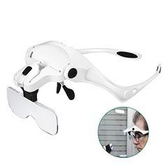 From 15.99 Rightwell Headband Magnifier With 2 Led Lightsheadset Magnifying Glasses Visor Loupe - 1x To 3.5x Zoom With 5 Detachable Lenses Hands Free For Readingwatch/circuit Repairsewingjewelryhobbycrafts
