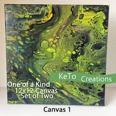 12x12 OOAK Acrylic Pour Painting Set of 2 with Cells  Fluid
