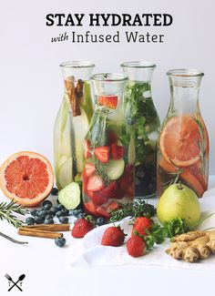 More recipes: 14 Flavor-Packed Fruit Infused Water Recipes 17 Fruit-Infused Waters to Replace Your Daily Soda Habit 7 Infused Water Recipes to Try This Summe. Infused Water Recipes, Fruit Infused Water, Infused Waters, Healthy Eating Tips, Healthy Nutrition, Clean Eating, Yummy Drinks, Healthy Drinks, Healthy Recipes