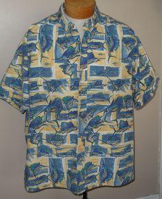 Kahala Mens Hawaiian Shirt XXL Sailfish Ocean Blue 100% Cotton 2XL Short Sleeve #Kahala #Hawaiian