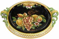Fruit Handled Platter - Black with Fruit - 12 inch diameter bowl, and 4.5 in high x 13.5 overall width at handles (10 cm high x 34 cm wide at the handles)
