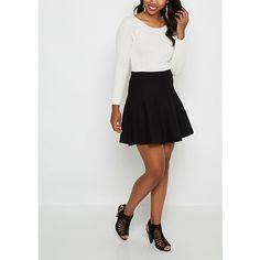 Black Knit Mini Skater Skirt via Polyvore featuring skirts, mini skirts, flared skirt, knit mini skirt, skater skirt, mini skater skirt and circle skirt