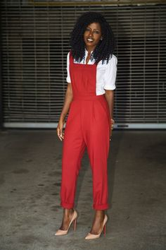 Button up shirt under cuffed jumpsuit with pointed toe pumps