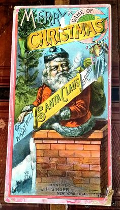 """Antique Christmas Board Game... .""""Game Of Merry Christmas Or What Will Santa Claus Bring"""" J.H.Singer Co, New York. c1890."""