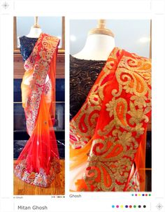 Shaded net saree with gota lace work.