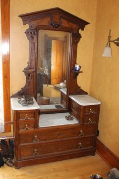Antique Victorian Marble Top Dresser With Mirror