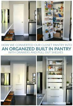 DIY Pantry Remodel Old Pantry Closet Turned Built In Pantry Cabinet Transform your dysfunctional closet pantry into an organized kitchen pantry with drawers and pull out shelves Click through to see this pantry makeover and how she created an organized pa Ikea Pantry, Pantry Cupboard, Kitchen Organization Pantry, Kitchen Pantry Cabinets, Diy Kitchen, Organized Kitchen, Ikea Cabinets, Pantry Ideas, Cabinet Closet
