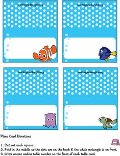 Place Card, Finding Nemo, Place Cards - Free Printable