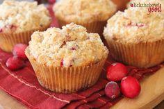 Cranberry Eggnog Crumb Muffins