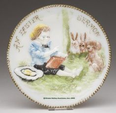 AN EASTER SERMON PLATE, Opaque White/milk Glass Wi