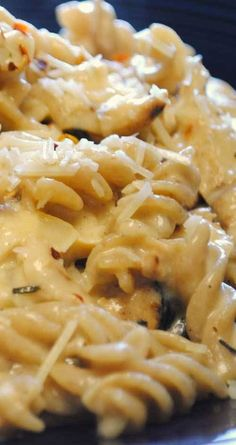 The sauce is a simple cheese sauce, similar to any macaroni and cheese recipe. Add some chicken and you'll have a great White Cheddar Chicken Pasta in just a few minutes. #chickenpasta #chickenrecipe #pastarecipe
