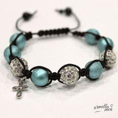 Shamballa bracelet with cross pendant by ArmellaMeaJewelry on Etsy