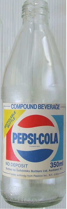 Mid 1980s Pepsi Soft Drink Bottle - New Zealand    here is a cool Pepsi Bottle from NZ in the mid 1980s, sometime before the slight logo change in 1987