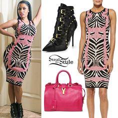 Nicki Minaj: Zebra Knit Dress, Buckle Boots