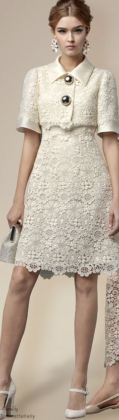 Such beautiful lace and a lovely shape, but please lose the atrocious buttons! Dolce & Gabbana | Winter 2015