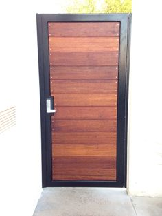 Modern horizontal style entry gate ipe mangaris tropical hardwood, prominent welded steel frame, keyless entry - Yelp