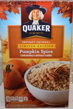 Learn more about Quaker Oatmeal's Limited Edition Pumpkin Spice Instant Oatmeal at LaaLoosh.com. Just 4 Points Plus for a quick and easy bowl of hearty pumpkin oatmeal.