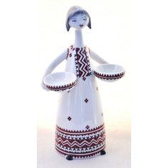 Kobieta z misami design Hollohaza Węgry lata 60te wys.19cm
