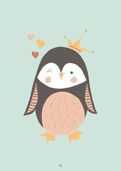 Alles is rustig vooral dit bord. Pinguin Illustration, Cute Illustration, Graphic Design Illustration, Baby Posters, Room Posters, Kids Prints, Baby Prints, Kids Poster, Holly Hobbie