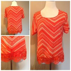 "Chevron top New with tags adorable chevron blouse with crochet trim around the bottom. Brand is Wishful Park. Size L: 20""UA, 24""L Tops Blouses"