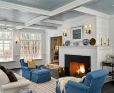 Bright Shiplap  vogue New York Traditional Family Room Decorators with  add ons additional rooms beadboard bright furniture bright room ceiling ceiling fans coffered ceiling