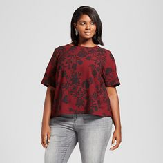 Women's Plus Size Floral Printed Blouse with Back Detail - Ava & Viv Burgundy