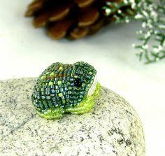 Frog Figurine Tiny Beaded Woodland Decor by MeredithDada on Etsy, $25.00