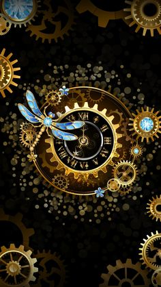 Steampunk, Erasable (Vinyl) Wallpapers: It can be the most used wall picture Clock Wallpaper, Galaxy Wallpaper, Disney Wallpaper, Wallpaper Backgrounds, Iphone Wallpaper, Steampunk Kunst, Steampunk Hat, Steampunk Fashion, Steampunk Drawing
