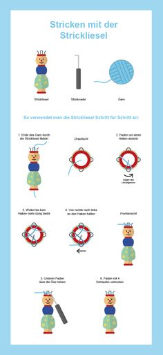 Knitting with the Strickliesel Knitting For Kids, Knitting For Beginners, Crochet For Kids, Easy Crochet, Knitting Projects, Loom Knitting, Crochet Poncho Patterns, Knitting Patterns, Art Minecraft