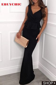 This is the black dress which is loved by all ladies. The evening dress is tailored with deep v neck and strapless. You may wear this bodycon dress for party, evning and most formal occasion. #blackdress #eveninggown #EveningDresses #eveningdresseslong  #eveningdresseselegant #partydress #partydressesforwomen #partydressesclassy #ebuychic