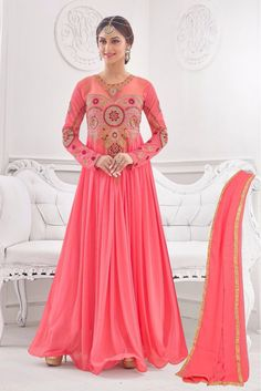 Corol Pink Colour Korean Lycra Fabric Designer Semi Stitched Gown Comes With Matching Dupatta. This Gown Is Crafted With Embroidery,Patch Work. This Gown Comes As Semi Stitched So It Can Be Stitched U...