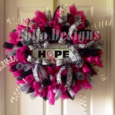 Always Have Hope, Breast Cancer Awareness Wreath, Deco Mesh Wreath, Door Wreath, Curly Wreath, Breast Cancer Sign by LoYoDesigns on Etsy https://www.etsy.com/listing/191460745/always-have-hope-breast-cancer-awareness