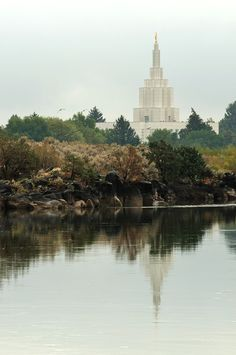 Idaho Falls, Idaho LDS Temple ---We were married here June 30, 1961---the temple by the river.