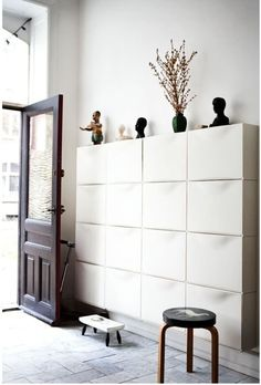 shoe storage ideas How To Use IKEA Trones Storage Boxes All Over the House Shoe Storage Narrow Hallway, Ikea Shoe Storage, Trones Ikea, Diy Shoe Rack, Shoe Racks, Storage Boxes, Storage Ideas, Storage Systems, Wall Storage