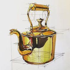 Hakan Gürsu - Brass work is an art #sketchaday #sketching #sketch #copicart…