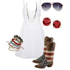 """""""Cute 4th of July country sundress"""" by bellalee2000 on Polyvore"""