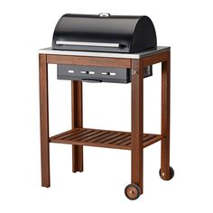 IKEA ÄPPLARÖ/KLASEN Charcoal barbecue Brown stained The built-in thermometer on the hood helps you check the temperature during grilling – without having...