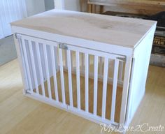 Repurposed Crib in Hundekiste - dog kennel diy Dog Crate Table, Dog Crate Furniture, Diy Dog Crate, Furniture Nyc, Cheap Furniture, Discount Furniture, Luxury Furniture, Office Furniture, Diy Dream Catcher