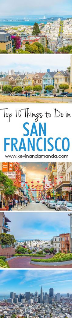 A list of the 10 Most Popular Sightseeing Attractions in San Francisco, including Lombard Street, the Painted Ladies, Coit Tower, and Alcatraz. Pin this if you are going to San Francisco!!