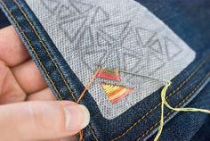Sashiko: Sayagata - Interlocked Manji by bonnie_phantasm - Custom Fabric with Spoonflower - Printed on Kona Cotton Fabric by the Yard - Embroidery Design Guide Hand Embroidery Stitches, Hand Embroidery Designs, Embroidery Techniques, Ribbon Embroidery, Embroidery Art, Hand Stitching, Embroidery Patches, Embroidery On Jeans, Simple Embroidery