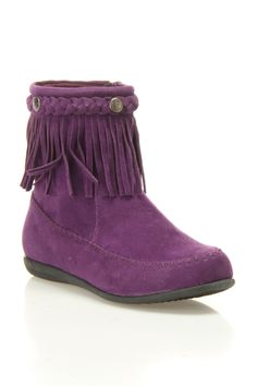 Carrini Low Fringe Boot In Purple - Beyond the Rack