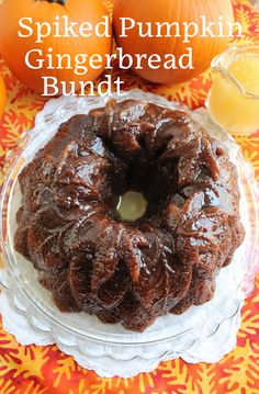 Food Lust People Love: This spiked pumpkin gingerbread Bundt combines your favorite pumpkin cake with your favorite gingerbread, brushed with a rum butter glaze, a fabulous treat for autumn. Chocolate Pumpkin Cake, Pumpkin Bundt Cake, Pumpkin Coffee Cakes, Rum Butter, Pumpkin Recipes, Fall Recipes, Rum Cake, Canned Pumpkin, Holiday Baking